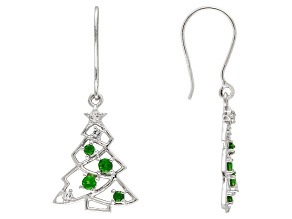 Green Russian chrome diopside sterling silver tree earrings .53ctw.