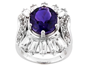 Purple Uruguayan Amethyst Sterling Silver Ring 6.38ctw.