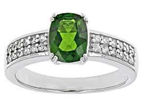 Green Russian Chrome Diopside Sterling Silver Ring 1.39ctw.