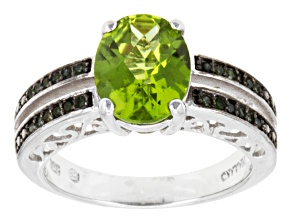 Green Peridot Sterling Silver Ring 2.44ctw.