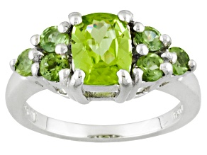 Green Peridot Sterling Silver Ring 1.89ctw.