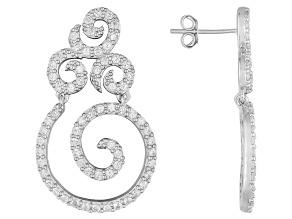 White Zircon Sterling Silver Dangle Earrings 2.51ctw.