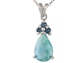 Blue Larimar Sterling Silver Pendant With Chain .16ctw.