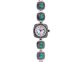 Blue turquoise silver watch