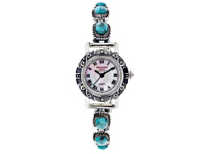 Blue turquoise sterling silver watch
