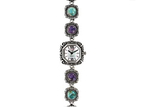 Mulitcolor Turquoise Sterling Silver Watch