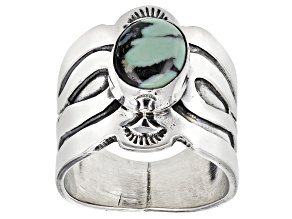 Teal New Lander Turquoise Solitaire Hand Crafted Signed Silver Ring