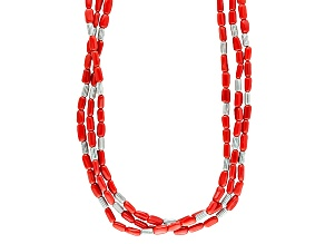 Red Coral Barrel Bead Three-Strand Sterling Silver Necklace