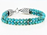 Mens Turquoise Rhodium Over Sterling Silver Eagle Bracelet