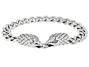 Mens Rhodium Over Sterling Silver Eagle Bracelet