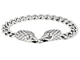 Mens Rhodium Over Sterling Silver Eagle Bracelet