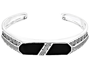 Inlaid Black Onyx Rhodium Over Sterling Silver Mens Cuff Bracelet