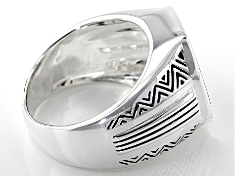 Inlaid Black Onyx Rhodium Over Sterling Silver Mens Ring