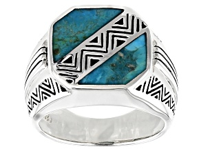 Mens Inlaid Turquoise Rhodium Over Sterling Silver Ring