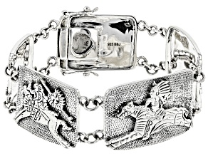 Rhodium Over Sterling Silver Native American Horse Bracelet
