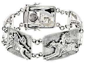 Rhodium Over Sterling Silver Native American Horse Bracelet
