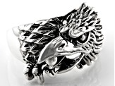 Rhodium Over Sterling Silver Mens Eagle Ring