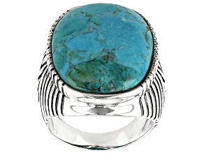 Mens Turquoise Rhodium Over Sterling Silver Solitaire Ring