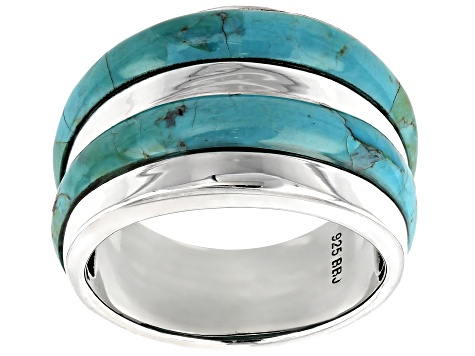 Turquoise Rhodium Over Sterling Silver Mens Band Ring