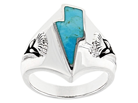 Turquoise Rhodium Over Sterling Silver Mens Lightning Bolt Ring