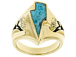 Turquoise 18k Yellow Gold Over Silver Lightning Bolt Ring