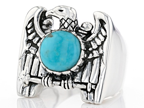 Turquoise Rhodium Over Sterling Silver Mens Eagle Ring