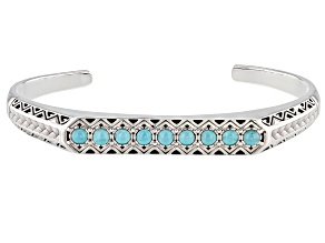 Turquoise Rhodium Over Sterling Silver Mens Cuff Bracelet