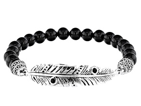 Mens Black Onyx Rhodium Over Sterling Silver Stretch Feather Bracelet
