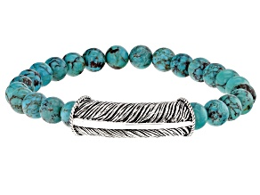 Turquoise Bead Rhodium Over Silver Mens Stretch Bracelet