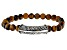 Tiger's Eye Bead Rhodium Over Silver Mens Stretch Bracelet