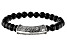 Black Onyx Rhodium Over Sterling Silver Men's Stretch Bracelet
