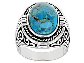 Turquoise Rhodium Over Sterling Silver Men's Ring