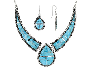 Inlaid Turquoise Silver Necklace And Earrings Set