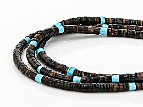 Turquoise Heishi Bead Silver Multi-Row Necklace