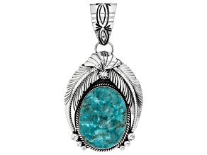 Turquoise Hand-Crafted Silver Feather Pendant