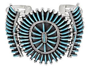 Turquoise Cabochon Silver Zuni Needlepoint Style Cuff Bracelet