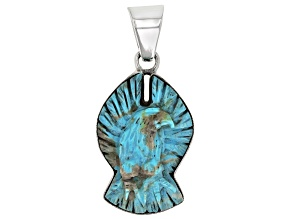 Carved Turquoise Eagle Sterling Silver Pendant