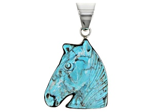 Carved Turquoise Horse Head Sterling Silver Pendant