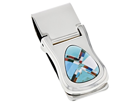 Turquoise Simulant Silver Tone Money Clip