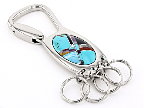 Turquoise Simulant Silver Tone Carabiner Key Ring