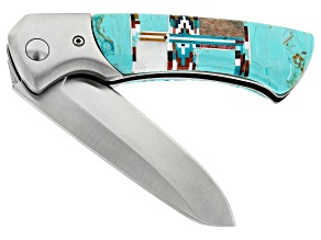 Stainless Steel Pocket Knife With Turquoise Simulant Handle