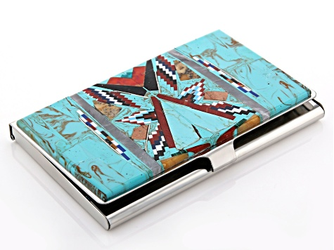 Turquoise Simulant Stainless Steel Card Case