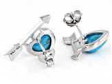 Girls Turquoise Rhodium Over Silver Heart And Arrow Earrings