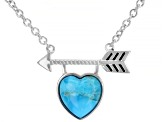 Girls Turquoise Rhodium Over Sterling Silver Heart And Arrow Necklace
