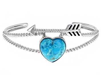 Picture of Girls Turquoise Rhodium Over Sterling Silver Heart And Arrow Cuff Bracelet