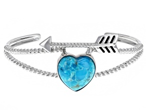 Girls Turquoise Rhodium Over Sterling Silver Heart And Arrow Cuff Bracelet