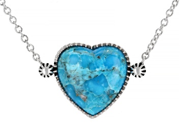 Picture of Girls Turquoise Rhodium Over Sterling Silver Heart Necklace