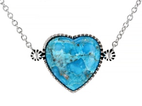 Girls Turquoise Rhodium Over Sterling Silver Heart Necklace