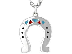 "Childrens Red, Blue, And Black Enamel Rhodium Over Silver Horseshoe Pendant And 12"" Chain"