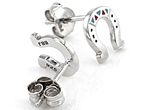 Childrens Red, Blue, And Black Enamel Rhodium Over Silver Horseshoe Stud Earrings